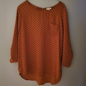 Rust Colored Dotted Loose Blouse